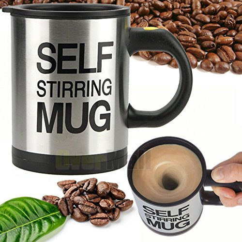 New Auto Mixing Coffee Tea Cup Stainless Plain Lazy Self Stirring Novelty Mug WP by New Unbrand from New Unbrand