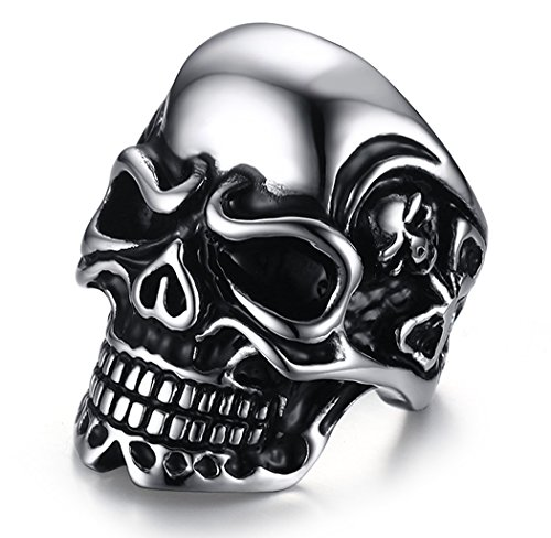 MAIKEDIAO Men's Stainless Steel Skull Band Vintage Fashion Gothic Punk Biker Symbolic Ring Band Silver - Top Gun His And Hers Costumes