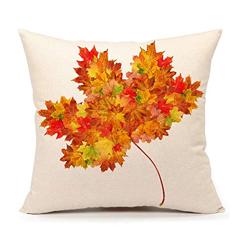 4TH Emotion Autumn Maple Leaf Fall Home Decor Design Throw Pillow Cover Pillow Case 18 x 18 Inch Cotton Linen for Sofa