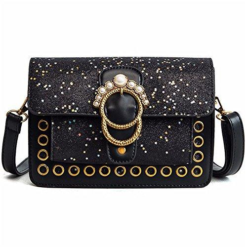 Large Suitable For Capacity Sequins Magnetic Simple Bag Bag Pu Rivets Retro Messenger Asdflina Black Square Shoulder Everyday Use Rivet qZSdW