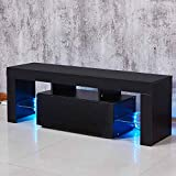 TV stand Wood Glass TV Cabinet Modern Table Black with Free LED Lights Black