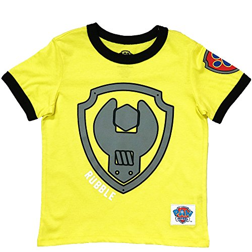 (Nickelodeon Paw Patrol Ringer T- Shirt: Chase, Marshall, Rocky, Rubble, Zuma,Sky, Everest (Rubble, 4T))