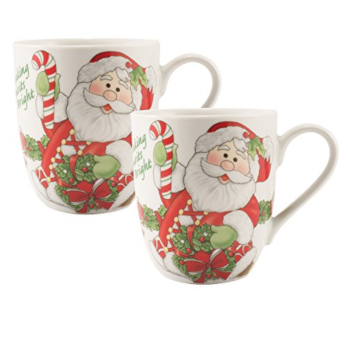 Fitz and Floyd Holiday Mug Candy Cane Santa Collection (Set of 2), Red/White