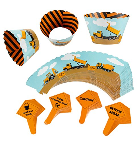 Construction Cupcake Toppers and Liners - 100-Piece Construction Zone Cupcake Wrappers Baking Supplies, Kids Birthday Party Favors for Cake and Muffin Decorations, Orange, Black, and Blue