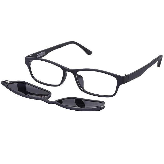 165fd4433b O-LET Eyeglass Frames for Prescription with Clip On Sunglasses Polarized  for Women Men (