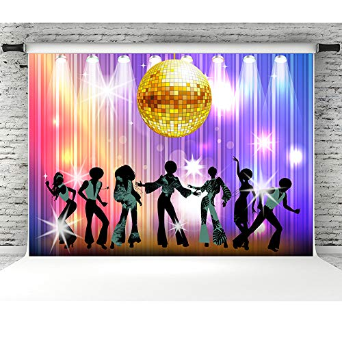 (7x5ft Vintage Disco Party Photo Backdrop 70s 80s 90s Disco Night Dancing Studio Props Banner Coloful Shiny Neon Birthday Party Background Decorations Booth)