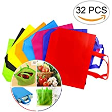 """Newbested 32 PCS 13""""×10"""" Assorted Colors Party Gift Tote Bags,Polyester Non-Woven Material,Assorted Colorful Blank Canvas Bags,Rainbow Colors With Handles For Birthday Favors, Snacks, Delivery Bag, ra"""