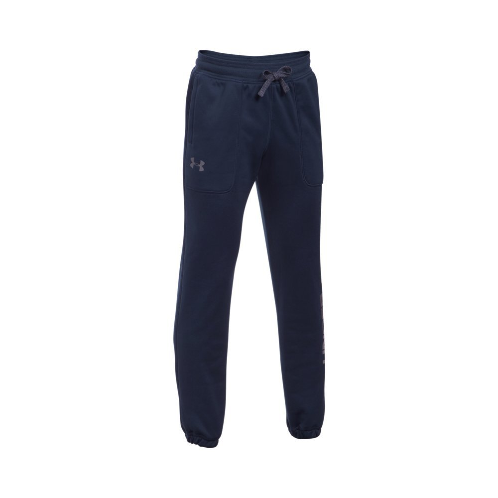Under Armour Boys' Armour Fleece Branded Joggers,Midnight Navy /Graphite, Youth X-Small