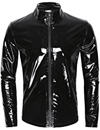 Men's Shiny Metallic Leather Long Sleeve Stand Collar Lightweight Outwear Jacket Coat