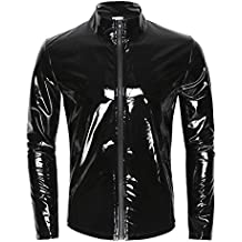 iEFiEL Men Wet Look Patent Leather Stand Collar Long Sleeve T-Shirt Tops Metallic Front Zipper Jacket Coat