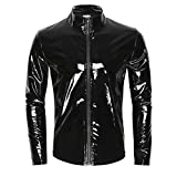 iEFiEL Men Wet Look Patent Leather Stand Collar Long Sleeve T-Shirt Tops Metallic Front Zipper Jacket Coat Black XX-Large
