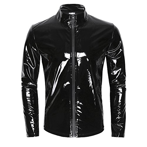 iEFiEL Men Wet Look Patent Leather Stand Collar Long Sleeve T-Shirt Tops Metallic Front Zipper Jacket Coat Black X-Large