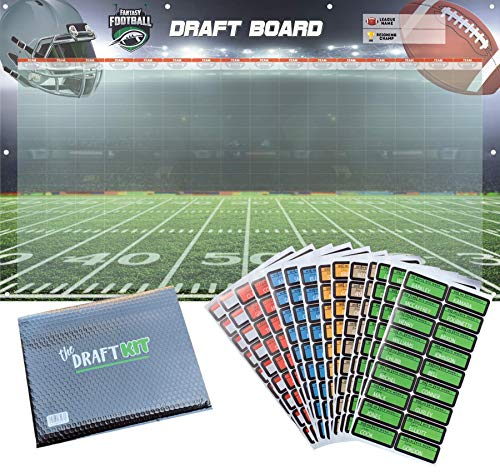 Amehla Fantasy Football Draft Board 2019 Kit - Reusable - Heavy Duty 3' x 5' Feet Vinyl Board with Grommets & Matte Stickers - for Leagues up to 16 Teams - up to 20 Man Rosters