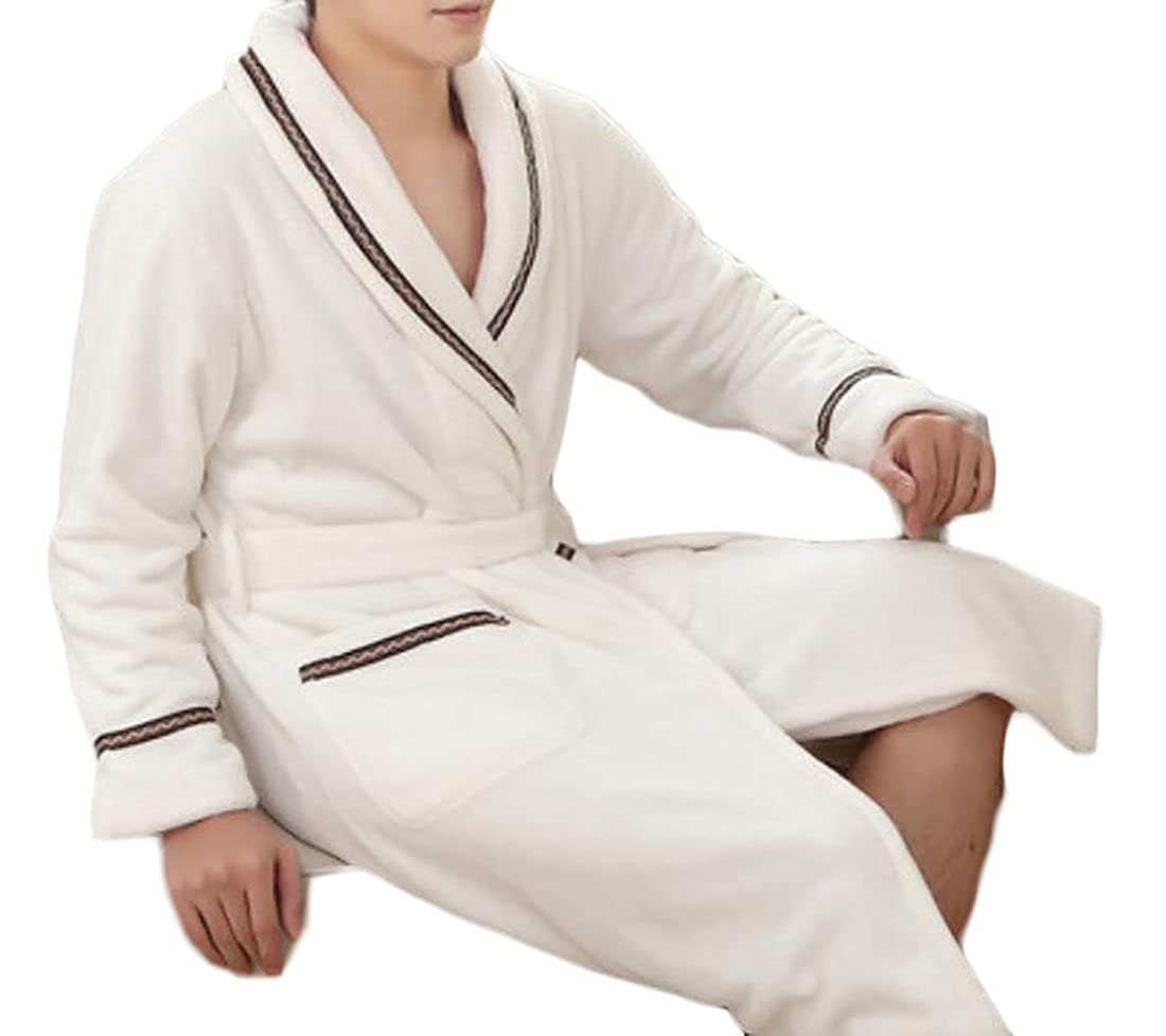 YYear Mens Thicken Shawl Collar Fleece Pockets Spa Bathrobe Robe
