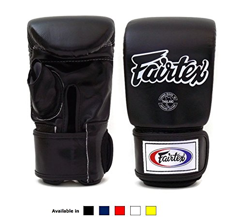 Fairtex Muay Thai Bag gloves TGO3 - Super Sparring Bag Gloves - Open Thumb - Black , Large