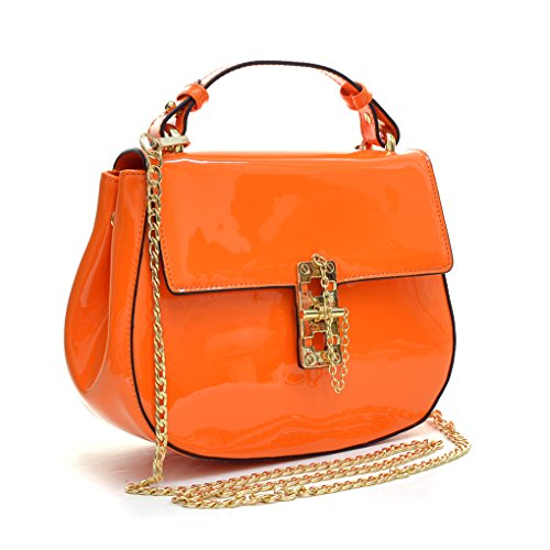 MKY Lady Medium Patent Leather Crossbody Purse Pin Clasp Fastening Front Flap Shoulder Bag Orange