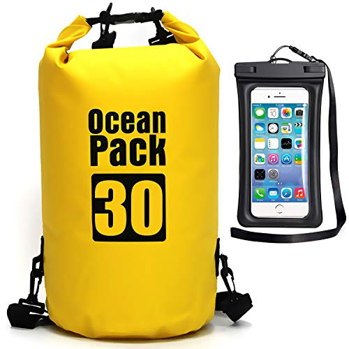 Waterproof Dry Bag - Roll Top Dry Compression Sack Keeps Gear Dry for Kayaking, Beach, Rafting, Boating, Hiking, Camping, Swimming, Floating and Fishing with Waterproof Phone Case (Yellow, 30L)