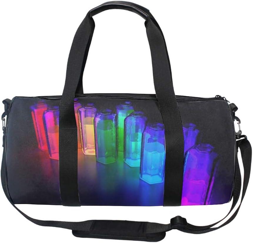 Colorful 3D Bottles Gym Bag Sports Duffel Bag Barrel Holdall Bag For Travel Gym Sports Bag