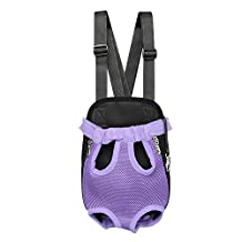 SALICO Breathable Mesh Pet Cat Carrier Front Pack, Double Shoulder Legs Out Dog Front Carrying Backpack, Pet Head Out Bag for Bicycle Bike Car Walking Hiking Travel (M, Purple Mesh)