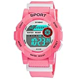 Siviki Children Boys Student Waterproof Sports Watch LED Colorful Rainbow Dial Digital Display Sports Casual Wrist Watches