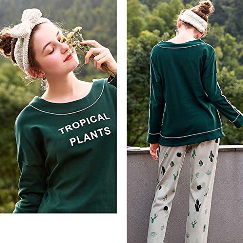 Manga Con Green Impresos Dulce Planta De Mujer Cactus Estampados Camisones Larga Para Pijamas Sexy En Una Caseros Moda Algodón Pieza Traje Rwq68x