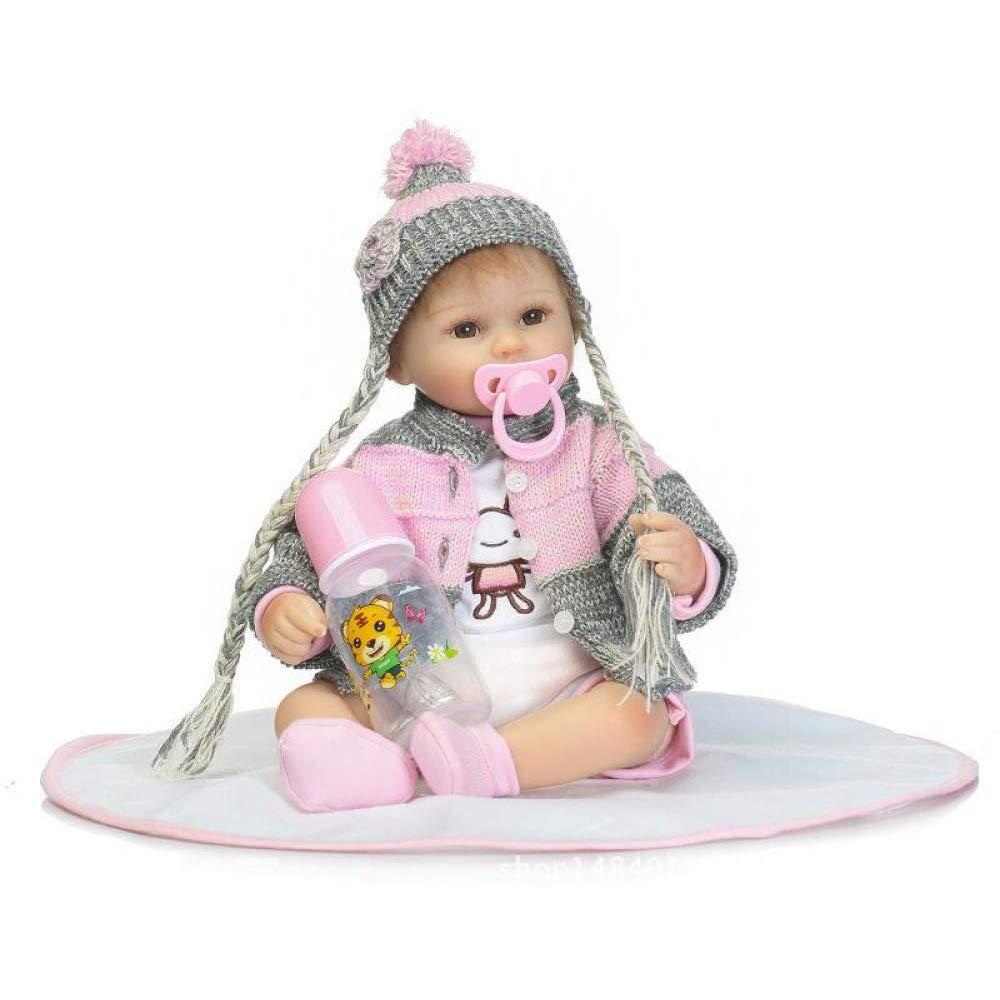 YIHANGG Babypuppen Reborn Baby Puppe Weiche Simulation Silikon Vinyl 42 cm Magnetische Mund Lebensechte Mädchen Spielzeug