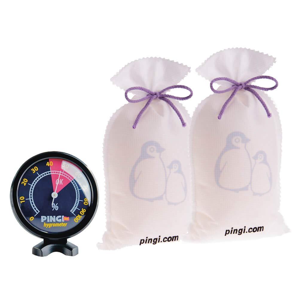 Absorbeur d'humidité Pingi, réutilisable indéfiniment - 2 Sacs 500g + Hygromètre offert