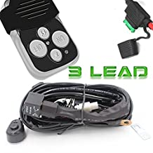"Turbo 300w LED Light Bar Wiring Harness Kit Fuse 40 Amp Relay ON-OFF-Strobe Remote Control Switch (3Lead) Waterproof IP 67 for Arctic Cat Wildcat Can Am Polaris RZR S 900 1000 and 3"" to 52"" Light Bar"