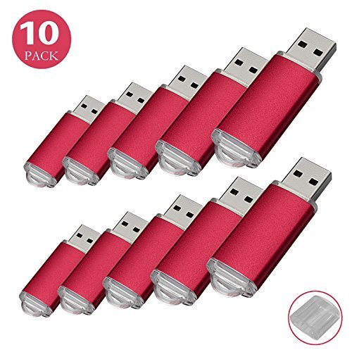 RAOYI 10PCS 1G USB Flash Drive USB 2.0 Memory Stick Memory Drive Pen Drive Red