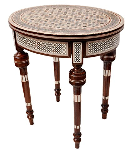 Handcrafted Egyptian Mother of Pearl Inlay Wood small Side Table for the living room Morrocan - Mother Of Coffee Pearl