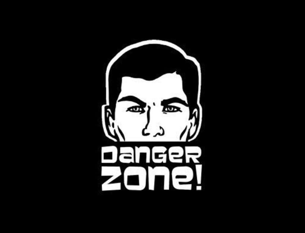 Sterling Archer Danger Zone Decal Vinyl Sticker| Cars Trucks Vans Walls Laptop|White|5.5 in Decal|CCI285