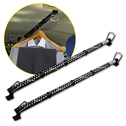 Zento Deals 2 Pack of Heavy Duty Expandable Clothes Bars Car Hangers Rod- Convenient Classic Black Combines With Strong Metal and Rubber Grips and Rings (Car Clothes Hanger)