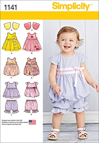 - Simplicity 1141 Baby Clothes and Dress Sewing Pattern, Sizes XXS-L