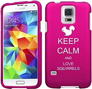 Samsung Galaxy S5 Mini Snap On 2 Piece Rubber Hard Case Cover Keep Calm and Love Squirrels (Hot Pink)