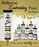 Aunt Martha's Ballpoint 8-Pack Embroidery Paint, Country Colors