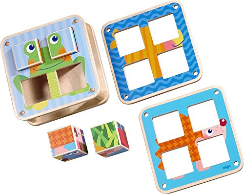 HABA Cubes Puzzle Garden Animals - 6 Different Block Puzzles for Ages 2 and Up (Haba Jigsaw Puzzles)