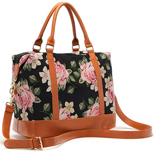 Women Ladies Canvas Weekender Bag Overnight Carry-on Tote Duffel in Trolley Handle (Flower-black) ()