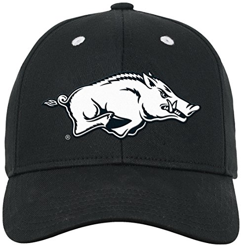 NCAA by Outerstuff NCAA Arkansas Razorbacks Youth Boys Black & White Structured Adjustable Hat, Black, Youth One Size ()