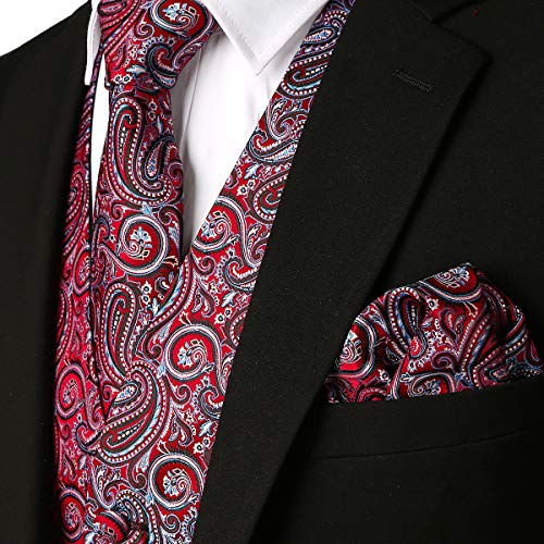 MAGE MALE Men's 3pc Paisley Floral Jacquard Vest Waistcoat Necktie Pocket Square Set for Suit or Tuxedo -