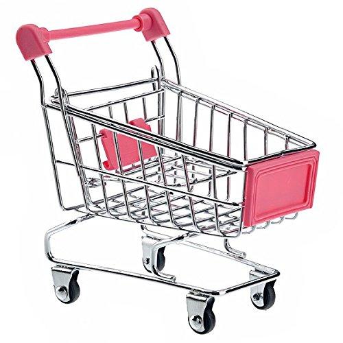 UEETEK Mini Shopping Cart Supermarket Handcart Shopping Utility Cart Mode Storage Toy (Rosy)