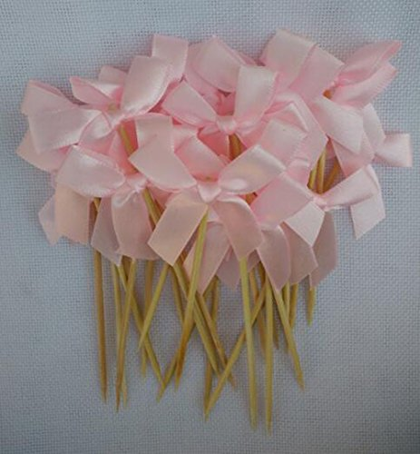 24 Pack Pink Ribbon Bow Party Wedding Cupcake Toppers Birthday Cake Toppers