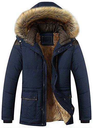 chouyatou Men's Winter Removable Hooded Frost-Fighter Sherpa Lined Midi Packable Parka Jackets (NavyBlue, Medium) - Lightweight Parka Hooded