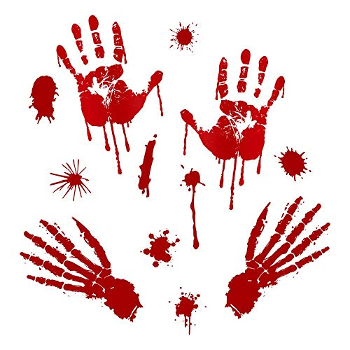 Inverlee Halloween Wall Sticker DIY Bloody Footprints Floor Clings Halloween Vampire Zombie Party Decor Stickers Home Decoration (B) -