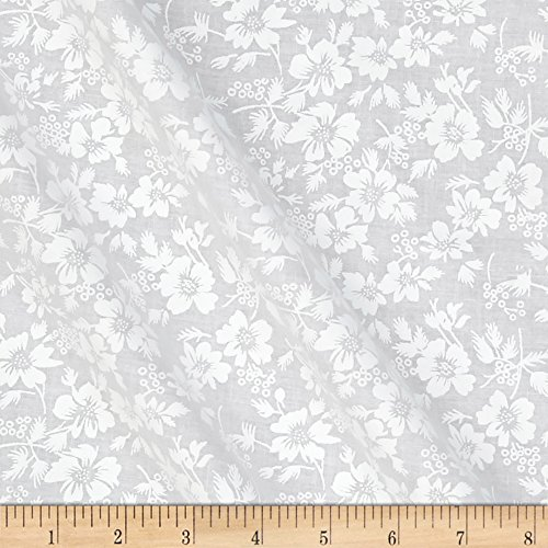 Santee Print Works Classic Tone on Tone Hawaiian Floral White/White Fabric By The (Tonal Prints Cotton Quilt Fabric)