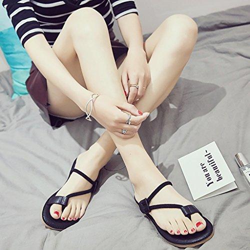 PENGFEI Zapatillas de Playa Verano Piso Antideslizante Femenino Sandalias de Estudiantes Negro, Verde y Rosa (Color : Verde, Tamaño : EU36/UK4/L:230mm) Negro