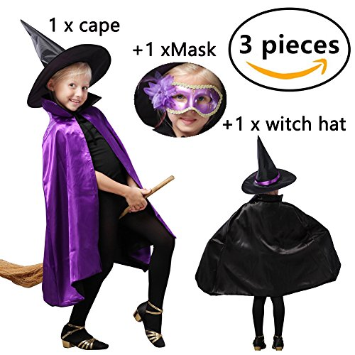 Halloween Clothes Costume Witch Cloak + Hat+mask Outfit Set for 3~8T