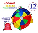 Play Parachute 12 Foot for Kids with Extra Strong Smudge Resistant-Handles, Proper Selection of Matching Colors On the Basis of Experimental Color Testing, with High-Grade Stitching