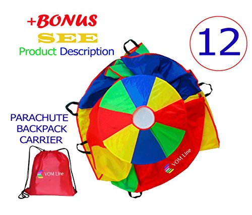 Play Parachute 12 Foot for Kids with Extra Strong Smudge Resistant-Handles, Proper Selection of Matching Colors On the Basis of Experimental Color Testing, with High-Grade Stitching (Parachute Gym Class)