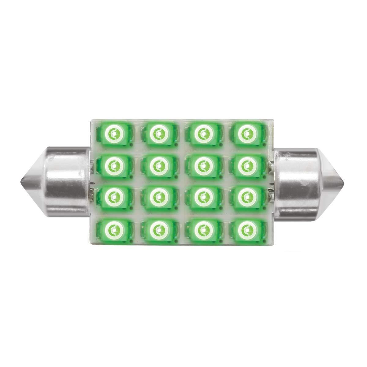 GG Grand General 76102 Light Bulb 211-2 Green 16-LED Festoon Dome, 12V