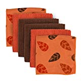 DII Microfiber Cleaning Towels Perfect for Kitchens, Dishes, Car, Dusting, Drying Rags, 12 x 12, Set of 4 - Orange Leaves